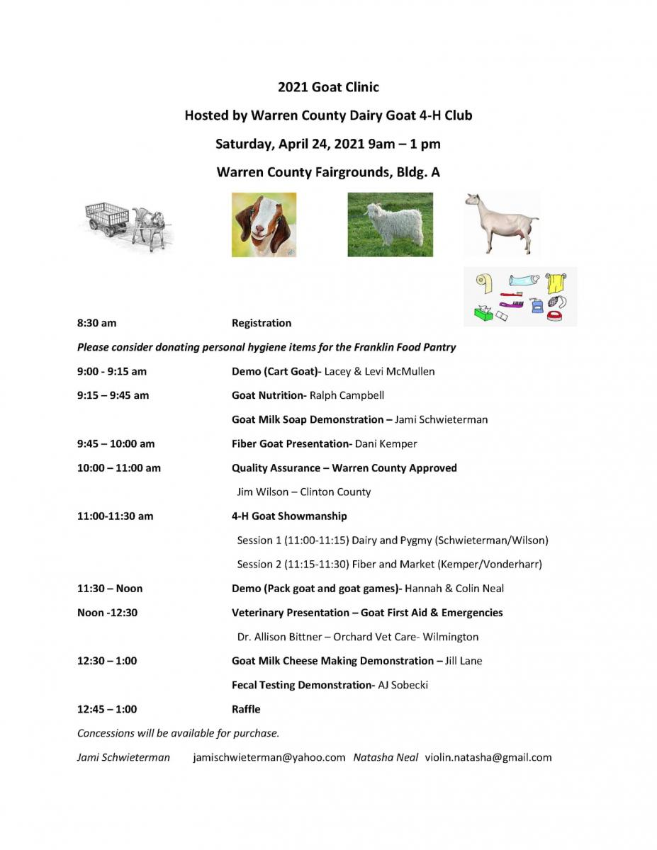 Goat clinic hosted by Warren County Dairy Goat Club